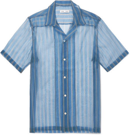 Duncan Camp Collar Striped Silk Organza Shirt by Cmmn Swdn