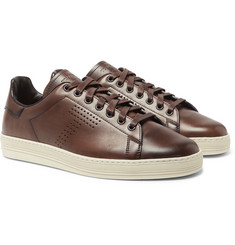 TOM FORD - Burnished-Leather Sneakers