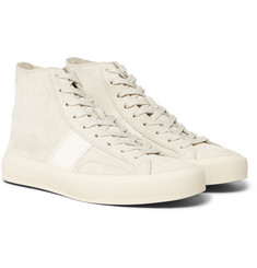 93b97244490b TOM FORD - Cambridge Leather-Trimmed Suede High-Top Sneakers