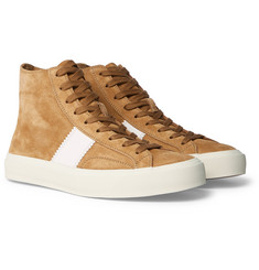 TOM FORD - Cambridge Leather-Trimmed Suede High-Top Sneakers