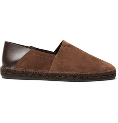 TOM FORD - Barnes Collapsible-Heel Suede and Leather Espadrilles