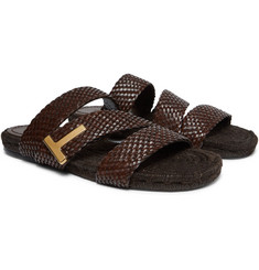 TOM FORD - Grafton Woven Leather Slides