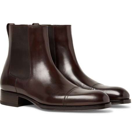 Edgar Cap-toe Polished-leather Chelsea Boots - Dark brown