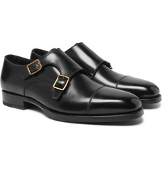 TOM FORD - Wessex Cap-Toe Leather Monk-Strap Shoes