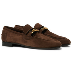 TOM FORD - Wilton Chain-Embellished Velvet-Trimmed Suede Loafers