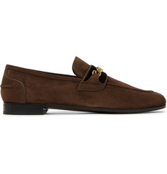 TOM FORD Wilton Chain-Embellished Velvet-Trimmed Suede Loafers
