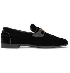 TOM FORD Wilton Chain-Embellished Leather-Trimmed Velvet Loafers