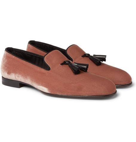 William Leather-trimmed Velvet Tasselled Loafers - Pink