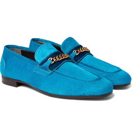 Wilton Chain-embellished Calf Hair Loafers - Blue