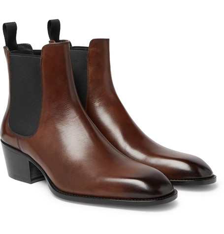 Webster Burnished-leather Chelsea Boots - Brown