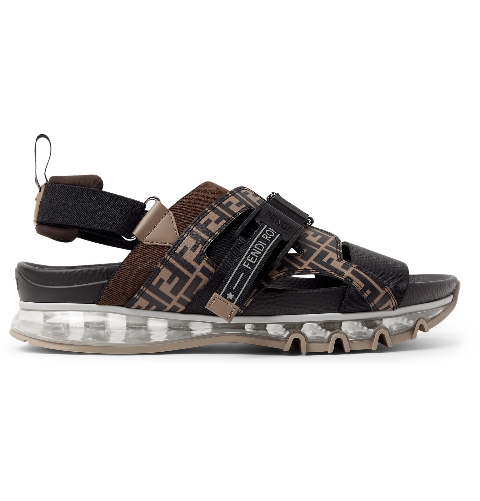 55b28a75e92d Fendi - Logo-Print Leather and Webbing Sandals