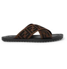Fendi Logo-Appliquéd Webbing Sandals