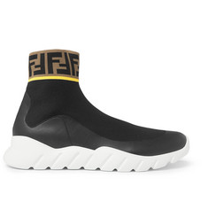 Fendi Coated Logo-Jacquard Stretch-Knit High-Top Sneakers