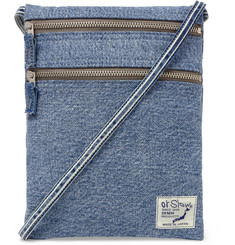 Logo-appliquéd Denim Messenger Bag - Blue