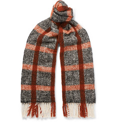 Mr P. Fringed Checked Textured-Knit Scarf
