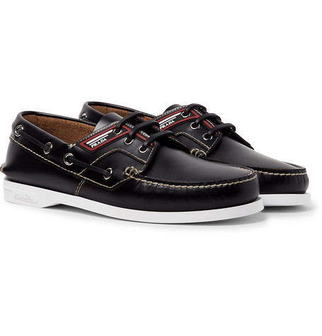 Leather Boat Shoes by Prada