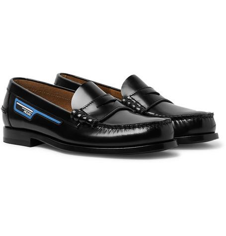 02b58bff75a Prada - Logo-Appliquéd Spazzolato Leather Penny Loafers
