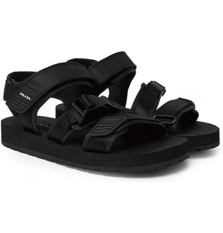 Rubber Trimmed Canvas Sandals by Prada