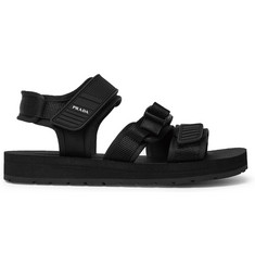 Prada Rubber-Trimmed Canvas Sandals