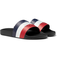 Moncler - Logo-Embossed Striped Rubber Slides