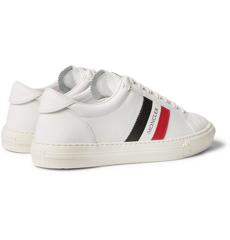 Moncler New Monaco Striped Leather Sneakers - White  a04490f5f14