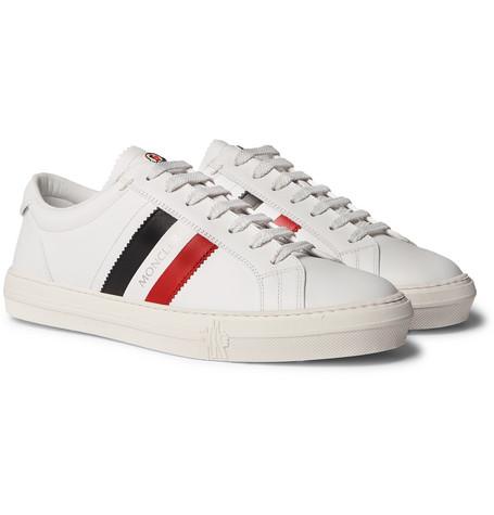 Moncler - New Monaco Striped Leather Sneakers e094297f773