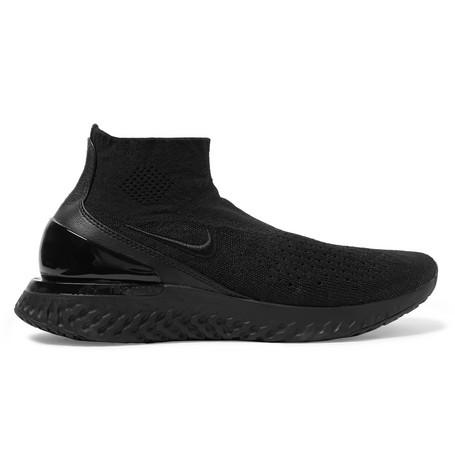 01461a39071d Nike Rise React Flyknit Sock Sneaker In Black