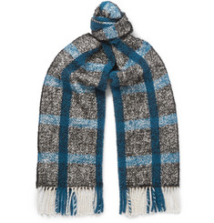 Mr P. - Fringed Checked Textured-Knit Scarf