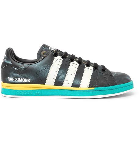 Raf Simons + Adidas Originals Samba Stan Smith Printed Leather Sneakers In 00099 Black