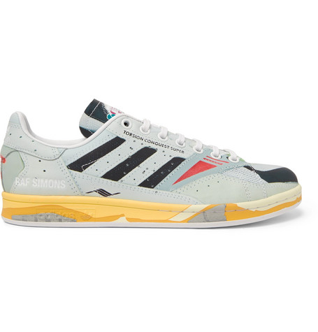 Raf Simons + Adidas Originals Torsion Stan Smith Printed Leather Sneakers In Gray