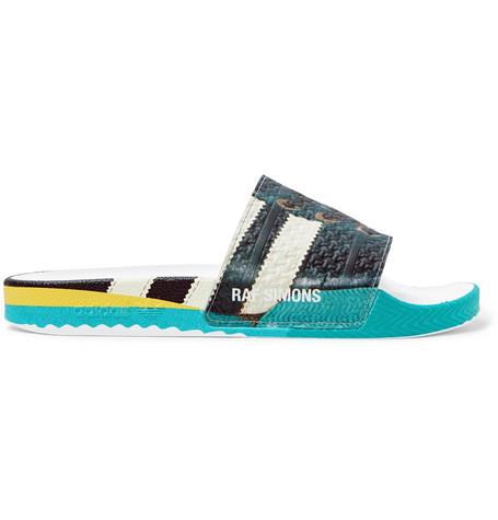 Raf Simons + Adidas Originals Samba Adilette Printed Textured-rubber Slides In Multi
