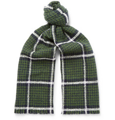 Mr P. Checked Double-Faced Wool-Blend Scarf