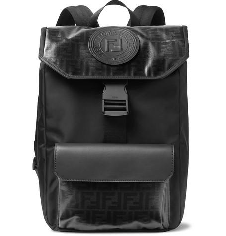 333f5a733016 Fendi - Leather-Trimmed Logo-Print Coated-Canvas Backpack