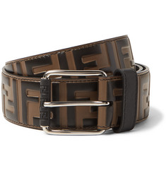 Fendi 4cm Brown Logo-Embossed Leather Belt