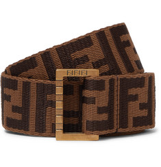 Fendi 3.5cm Brown Leather-Trimmed Logo-Jacquard Webbing Belt