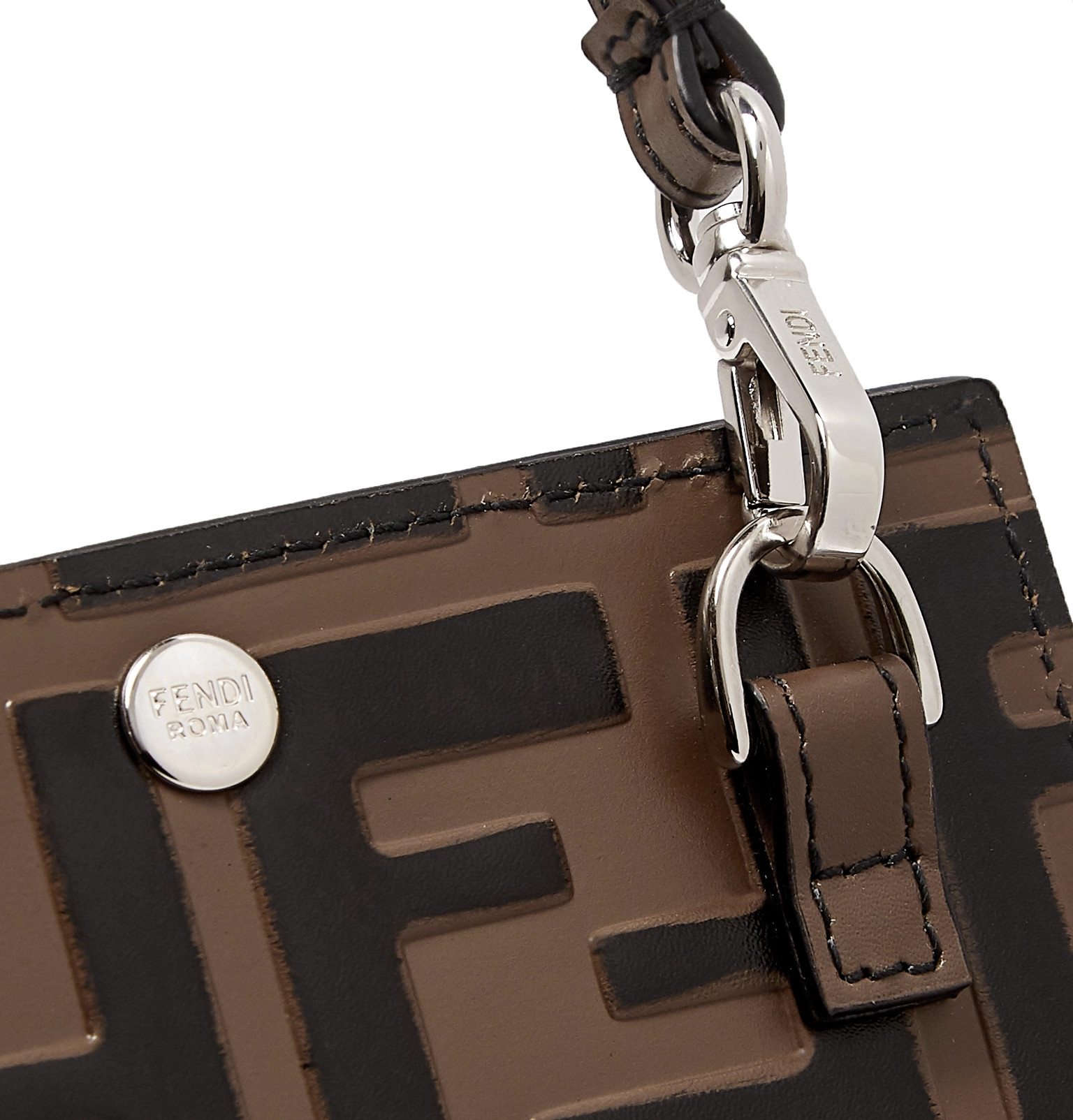 e7c1872ec28d Fendi - Logo-Debossed Leather iPhone X Lanyard Case
