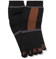 Logo-intarsia Colour-block Stretch-knit Socks - Black