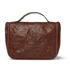 Brunello Cucinelli Textured-Leather Hanging Wash Bag