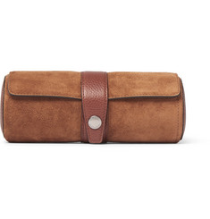 Brunello Cucinelli Full-Grain Leather-Trimmed Suede Watch Roll