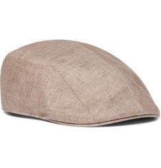 Brunello Cucinelli - Leather-Trimmed Herringbone Linen Flat Cap