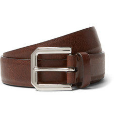 Brunello Cucinelli 3cm Brown Leather Belt