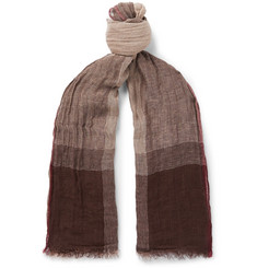 Brunello Cucinelli Checked Washed Linen and Silk-Blend Scarf