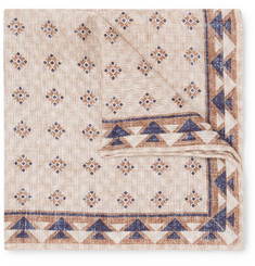Brunello Cucinelli - Reversible Printed Linen and Cotton-Blend Pocket Square