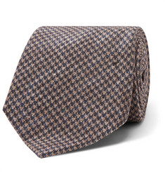 Brunello Cucinelli 5cm Puppytooth Linen and Silk-Blend Tie