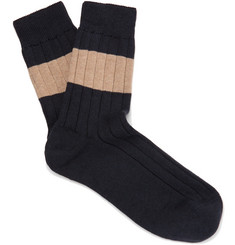 Brunello Cucinelli Striped Ribbed Cotton Socks