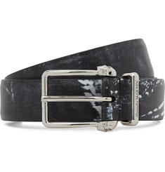 Alexander McQueen 3cm Black Printed Matte-Leather Belt