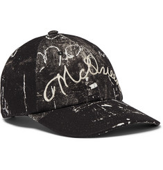 Alexander McQueen Leather-Trimmed Embroidered Printed Cotton-Canvas  Baseball Cap 78de1fd92b6f
