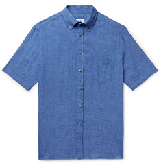 Dunhill Slim-Fit Button-Down Collar Linen Shirt