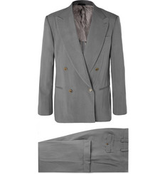 Giorgio Armani Light-Grey Loose-Fit Double-Breasted Grain de Poudre Suit