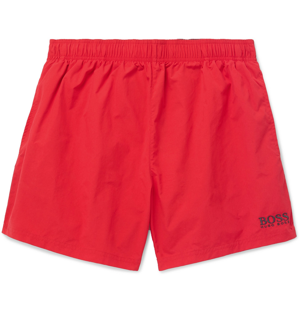 Hugo Boss Short-Length Logo-Embroidered Swim Shorts